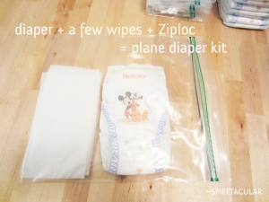 Diaper kit for flying on a plane - spifftacular.wordpress.com